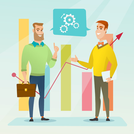 Businessmen discussing market analysis on background of financial graph. Men talking about situation on market. Marketers analyzing statistical data. Vector flat design illustration. Square layout. Illusztráció