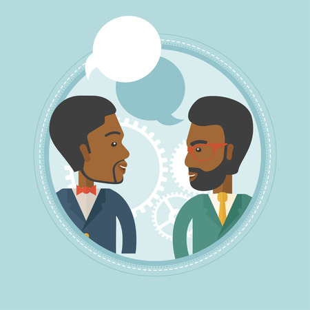 business discussion: Two african-american businessmen discussing business plan on a background with cogwheels. Business discussion and teamwork concept. Vector flat design illustration in the circle isolated on background