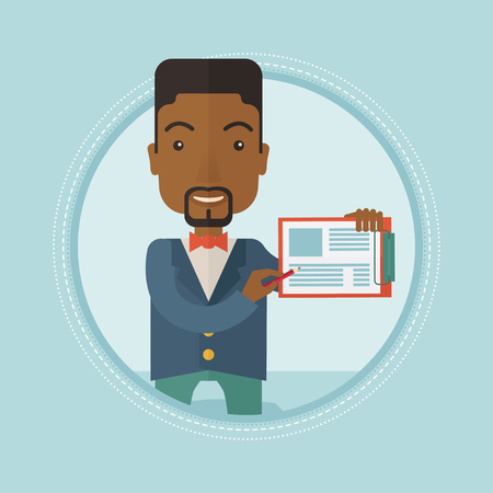 An african-american businessman using clipboard for business presentation. Cheerful businessman giving a business presentation. Vector flat design illustration in the circle isolated on background