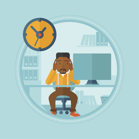 An african-american worried employee sitting at workplace and clutching his head because of missed deadline. Concept of deadline. Vector flat design illustration in the circle isolated on background. Ilustração