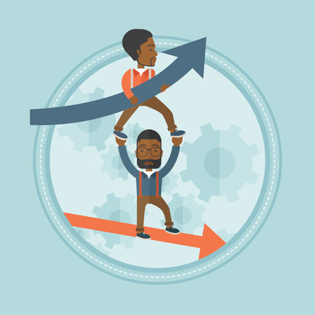 Depressed bankrupt businessman holding on outstretched hands successful businessman. Concept of success and failure in business. Vector flat design illustration in the circle isolated on background.