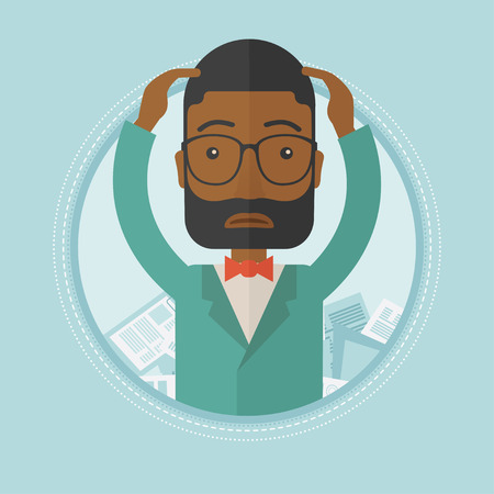 sad businessman: An african-american depressed businessman sitting in heap of papers. Overworked sad businessman sitting among piles of papers. Vector flat design illustration in the circle isolated on background.