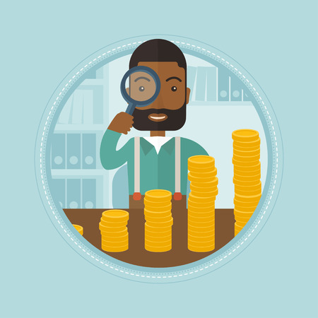 An african businessman looking through magnifier at coins - business profit. Businessman satisfied by growth of business profit. Vector flat design illustration in the circle isolated on background. Illustration