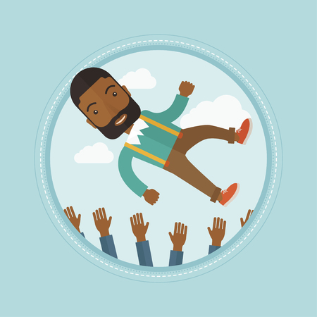 arms lifted up: African-american successful businessman get thrown into the air by coworkers during celebration. Celebration of business success. Vector flat design illustration in the circle isolated on background.