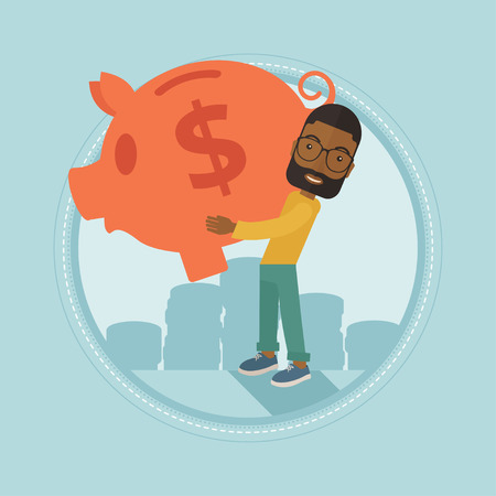 An african-american businessman holding a big piggy bank on the background of coins. Businessman saving money in a piggy bank. Vector flat design illustration in the circle isolated on background. Illustration