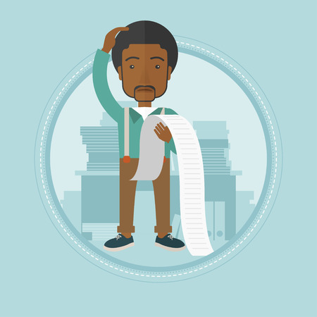 An african-american businessman bankrupt holding a long bill in office. Disappointed businessman bankrupt looking at long bill. Vector flat design illustration in the circle isolated on background. Illustration