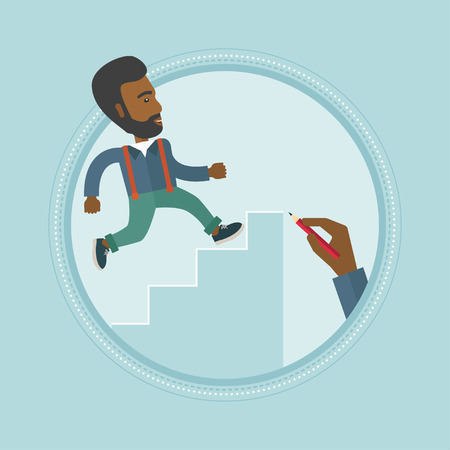 career up: An african-american businessman climbing up the ladder of business career. Man climbing to success. Concept of business career. Vector flat design illustration in the circle isolated on background. Illustration