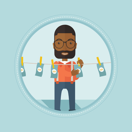 An african-american businessman drying dollar bills on clothesline. Businessman laundering money. Concept of money laundering. Vector flat design illustration in the circle isolated on background. Illustration
