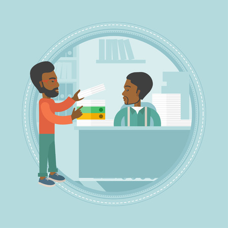 An african-american businessman giving paperwork to employee. Unhappy employee receiving a lot of paperwork from his colleague. Vector flat design illustration in the circle isolated on background.