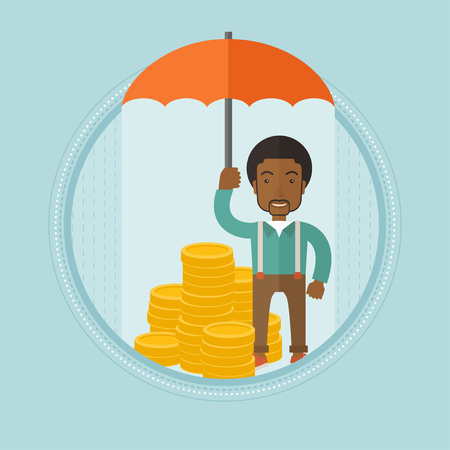 An african-american insurance agent holding an open umbrella over golden coins. Business insurance and business protection concept. Vector flat design illustration in the circle isolated on background Ilustrace
