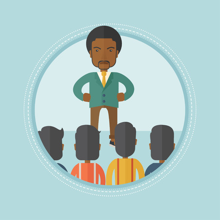 firing: Angry african-american businessman shouting at his workers. Aggressive boss firing his workers. Businessman yelling at his workers. Vector flat design illustration in the circle isolated on background