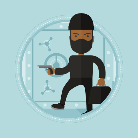 bank robber: An african-american robber in black costume and mask with hand gun standing near bank safe door. Robber stealing money in bank. Vector flat design illustration in the circle isolated on background.