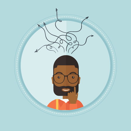 business opportunity: An african-american inspired businessman during decision making process. Decision making process and business idea concept. Vector flat design illustration in the circle isolated on background.
