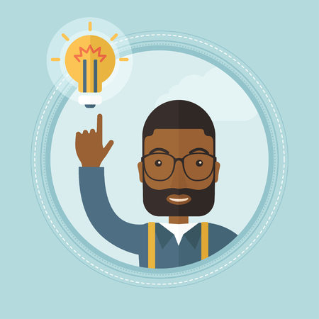 came: An african-american excited businessman pointing at idea bulb. Businessman came up with idea. Concept of creative business idea. Vector flat design illustration in the circle isolated on background.
