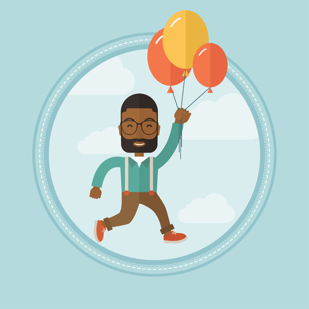 business flying: Successful businessman flying up away on bunch of balloons. Successful businessman soaring on balloons. Business success concept. Vector flat design illustration in the circle isolated on background. Illustration