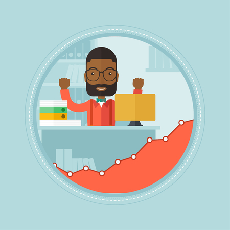happy office: An african cheerful office worker sitting at workplace and enjoying his success in work. Happy office worker working on laptop. Vector flat design illustration in the circle isolated on background. Illustration