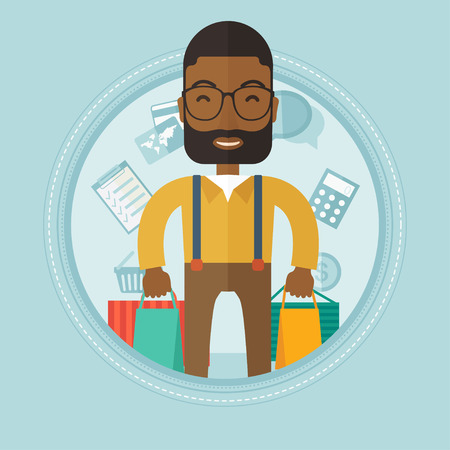 happy shopper: Excited african shopper holding a lot of shopping bags on the background with shopping icons. Happy man carrying shopping bags. Vector flat design illustration in the circle isolated on background. Illustration