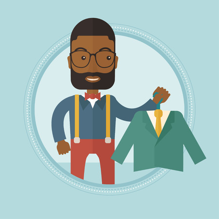 suit jacket: An african-american shopper holding hanger with suit jacket and shirt. Shopper choosing suit jacket. Shop assistant offering suit. Vector flat design illustration in the circle isolated on background. Illustration