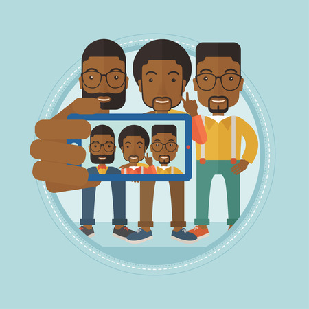 Three happy african-american men spending time together and making a selfie photo using smart phone. Happy guys taking selfie. Vector flat design illustration in the circle isolated on background. Illustration