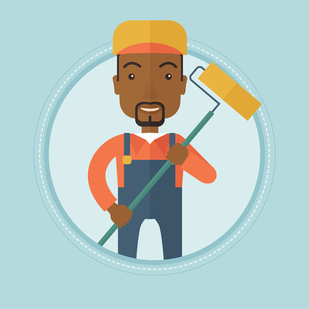 African-american smiling painter in uniform holding a paint roller in hands. Painter at work. House painter painting with roller. Vector flat design illustration in the circle isolated on background. Illustration