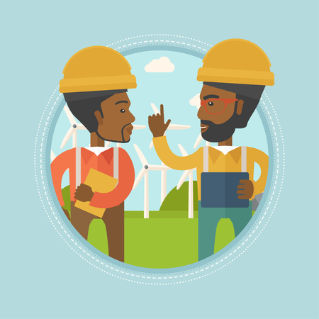 Two african-american workers talking on background of wind farm. Workers of wind farm in helmets discussing working affairs. Vector flat design illustration in the circle isolated on background. Illustration