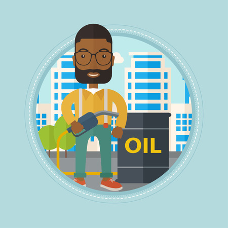 refilling: An african-american man standing near oil barrel. Oil worker holding gas pump nozzle on a city background. Oil industry concept. Vector flat design illustration in the circle isolated on background. Illustration
