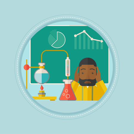 chemistry class: An african-american student carrying out experiment in chemistry class. Sad student working at chemistry class and clutching head. Vector flat design illustration in the circle isolated on background.
