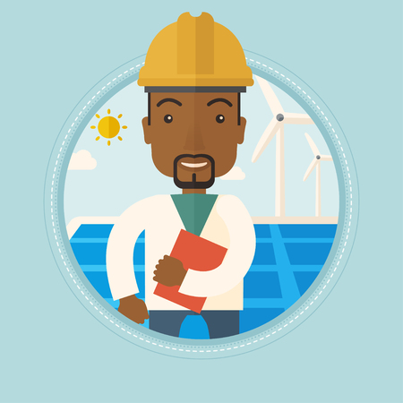 Worker of solar power plant and wind farm. An african-american man with folder on background of solar panel and wind turbine. Vector flat design illustration in the circle isolated on background. Vettoriali