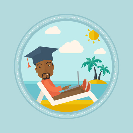 An african graduate lying in chaise longue on a beach. Graduate in graduation cap working on laptop. Concept of online education. Vector flat design illustration in the circle isolated on background.