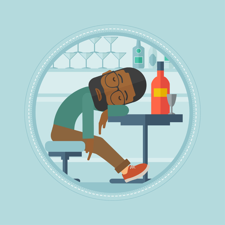 An african-american drunk bar customer deeply sleeping in bar. Bar customer asleep on the table. Alcohol addiction concept. Vector flat design illustration in the circle isolated on background. Illustration