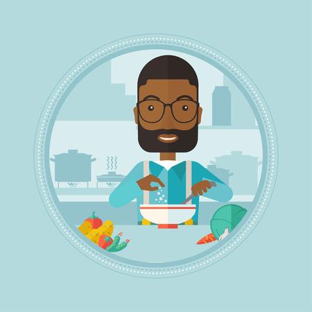 Ein afrikanischer Mann Kochen Gemüsesalat zu Hause. Man Zugabe von Salz oder Gewürze in frischen, gesunden Salat. Man bereitet Gemüsesalat. Vector flache Design, Illustration im Kreis auf Hintergrund.