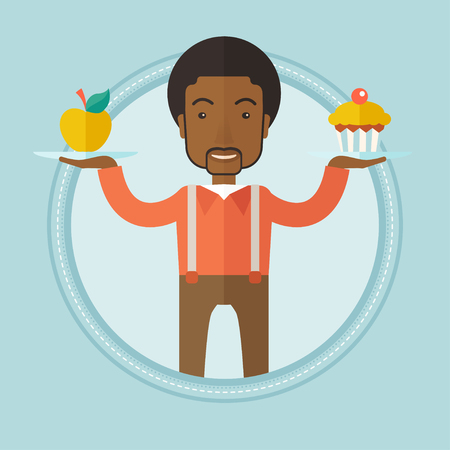 choosing: An african-american man choosing between apple and cupcake. Young happy man choosing between healthy and unhealthy nutrition. Vector flat design illustration in the circle isolated on background.