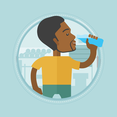 sportive: Sportive african-american man drinking water. Man with bottle of water in the gym. Sportsman drinking water from the bottle. Vector flat design illustration in the circle isolated on background.
