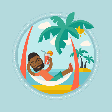 An african-american man chilling in hammock with a cocktail on the beach. Cheerful tourist drinking a cocktail on the beach. Vector flat design illustration in the circle isolated on background. Ilustrace