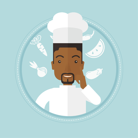 forefinger: An african-american chief-cooker pointing forefinger up. Chief-cooker in uniform thinking about the recipe. Chef having an idea. Vector flat design illustration in the circle isolated on background.
