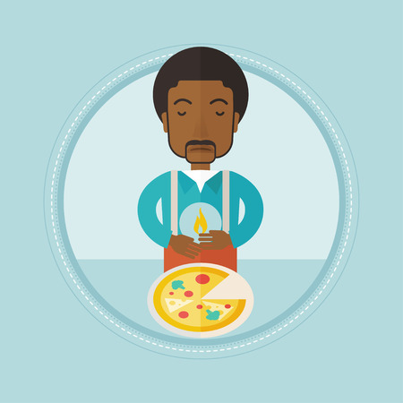 burn out: An african-american man suffering from heartburn after eating pizza. Upset young man suffering from heartburn caused by pizza. Vector flat design illustration in the circle isolated on background.