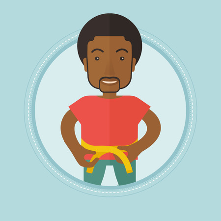 An african-american man measuring his waistline with tape. Man measuring with tape the waistline. Man with centimeter on waistline. Vector flat design illustration in the circle isolated on background