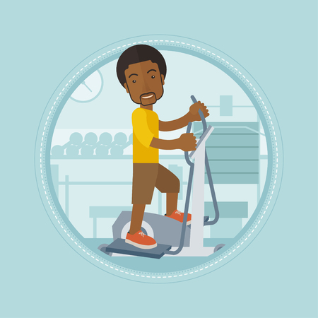 stationary bicycle: African man riding stationary bicycle. Man exercising on stationary training bicycle. Man training on stationary bicycle in gym. Vector flat design illustration in the circle isolated on background.