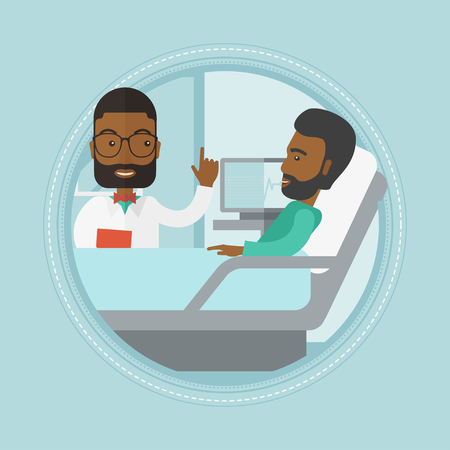 hospital ward: An african doctor visiting patient at hospital ward. Doctor pointing finger up during consultation with patient in hospital ward. Vector flat design illustration in the circle isolated on background. Illustration