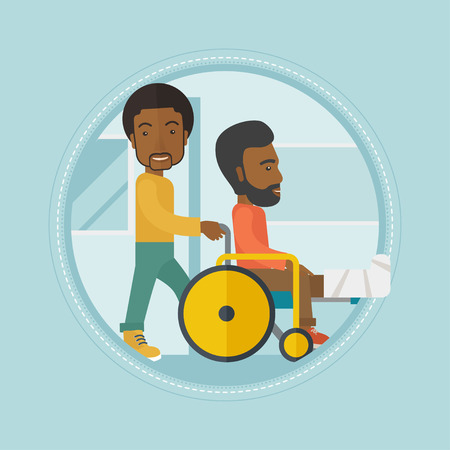 An african-american man pushing wheelchair with patient with broken leg. An injured man with fractured leg sitting in wheelchair. Vector flat design illustration in the circle isolated on background. Illustration