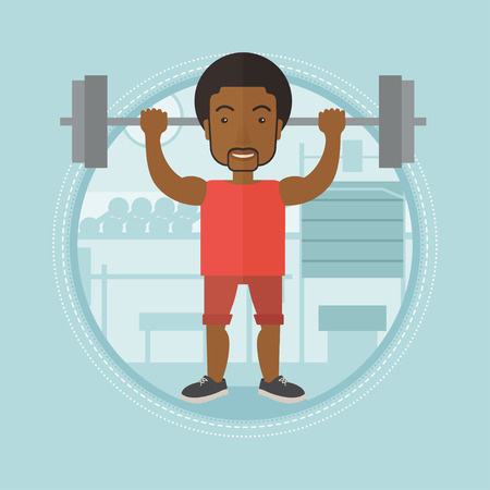 crossbar: An african-american man lifting a heavy weight barbell. Sportsman doing exercise with barbell. Male weightlifter holding a barbell. Vector flat design illustration in the circle isolated on background