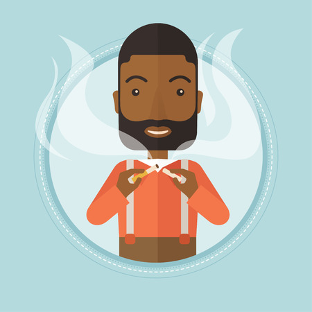 An african-american young man breaking the cigarette. Man crushing cigarette. Man holding broken cigarette. Quit smoking concept. Vector flat design illustration in the circle isolated on background. Illustration