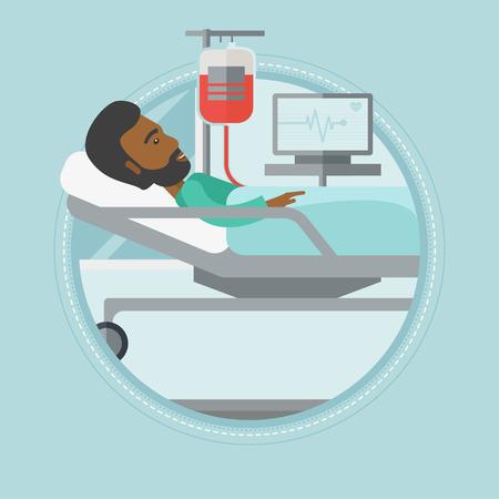 Un paziente africano-americano si trovava a letto in ospedale. di riposo del paziente nel letto di ospedale durante la procedura di trasfusione di sangue. Vector design piatto illustrazione nel cerchio isolato su sfondo.
