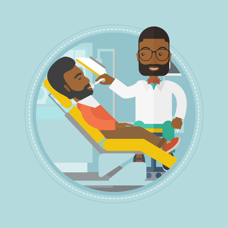 An african-american man sitting in dental chair. Doctor and patient in the dental clinic. Patient on reception at the dentist. Vector flat design illustration in the circle isolated on background.