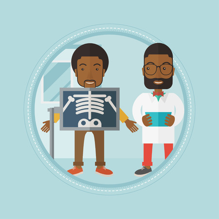 procedure: African-american patient during x-ray procedure in examination room in hospital. Cheerful patient on reception at the radiologist. Vector flat design illustration in the circle isolated on background.