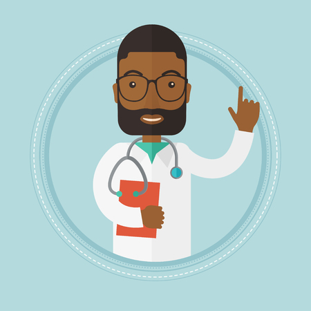 forefinger: An african-american doctor showing finger up. Doctor with stethoscope and file. Doctor in medical gown pointing finger up. Vector flat design illustration in the circle isolated on background.
