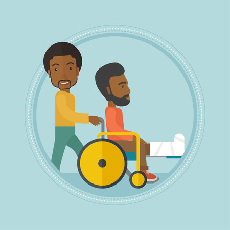 man pushing: An african-american man pushing wheelchair with patient with broken leg. An injured man with fractured leg sitting in wheelchair. Vector flat design illustration in the circle isolated on background. Illustration