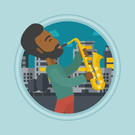 african sax: An african-american musician playing on saxophone. Man playing on saxophone in the night. Man with saxophone in the city street. Vector flat design illustration in the circle isolated on background.