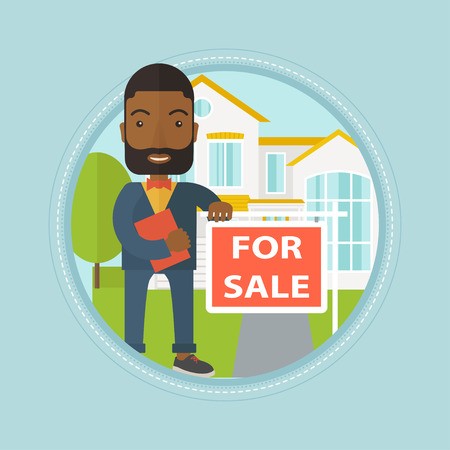 Real estate agent offering the house. An african real estate agent with placard for sale and documents standing in front of house. Vector flat design illustration in the circle isolated on background. Illustration