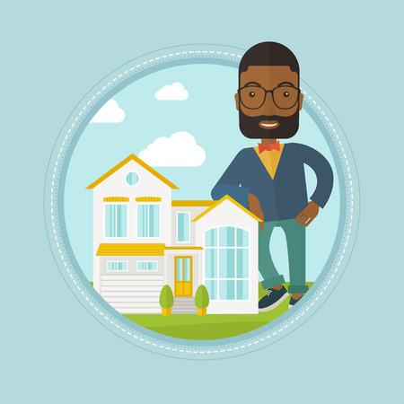 An african real estate agent standing near the house. Real estate agent leaning on the house. Real estate agent offering house. Vector flat design illustration in the circle isolated on background.